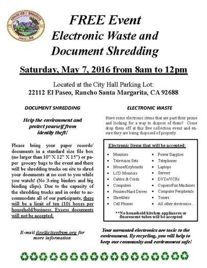 E-Waste and Shred Event Flyer