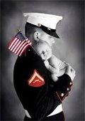 Marine holding baby