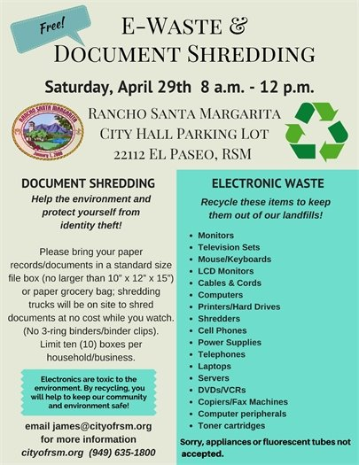 E-waste and document shredding flyer