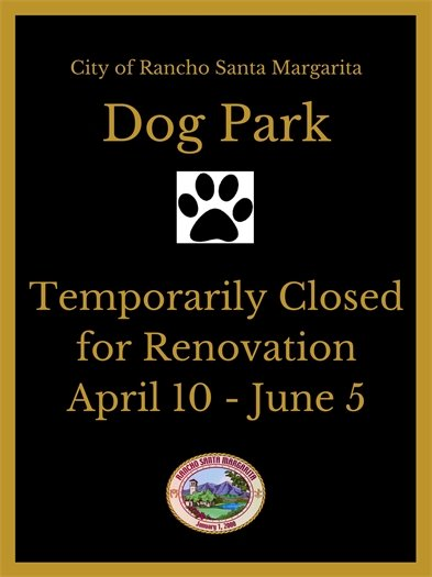 Dog Park closure sign