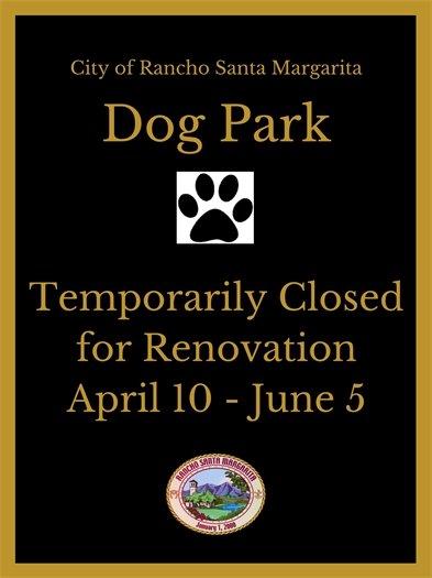 Dog Park closure sign