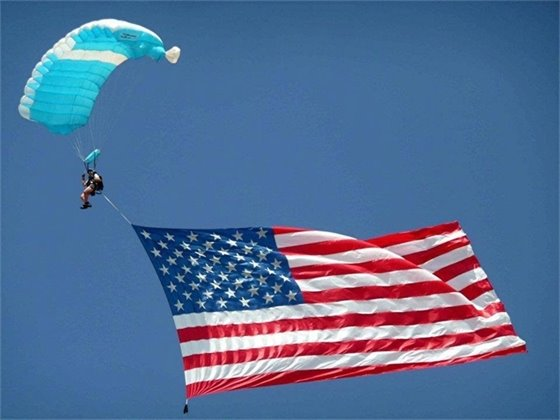 Skydiver with American Flag
