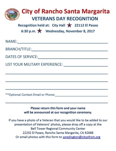 Veterans Day Recognition Form