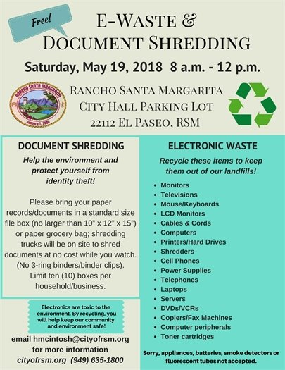 Free Electronic Waste and document shredding flyer