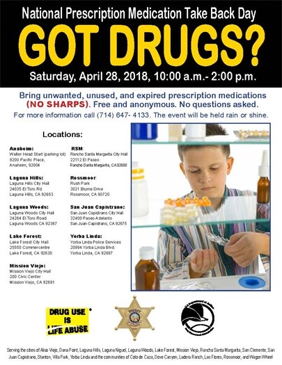National Prescription Medication Take Back Day flyer