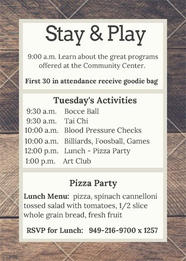 Age Well activitiy schedule - Tuesday, June 12